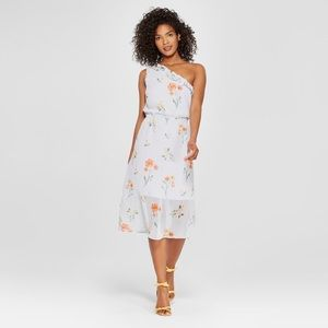 Who What Wear Floral Print Ruffle Midi Dress Blue